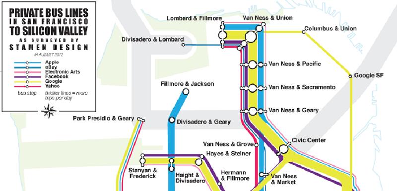 Die privaten Buslinien im Silicon Valley (Quelle: Stamen Design)