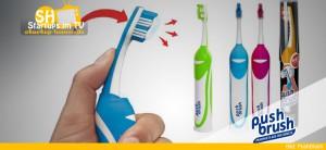 Push Brush Zahnbürste mit integrierter Zahnpasta